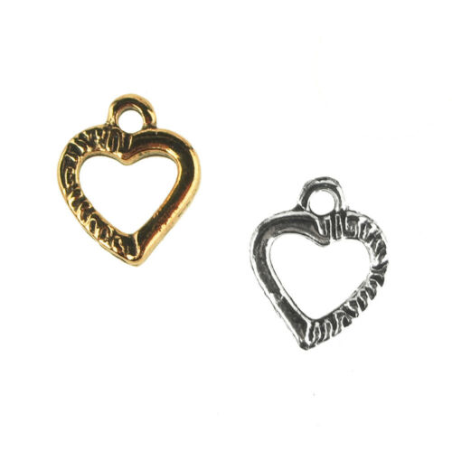 42-Count 1//2-Inch Small Heart Metal Charms