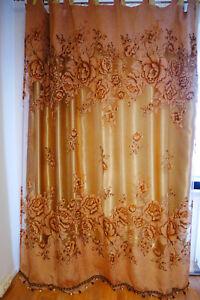 Details zu gardinen wohnzimmer schlaufen verdunkelung 4St. set ca. 2.5m x  4m Gold m. Perlen