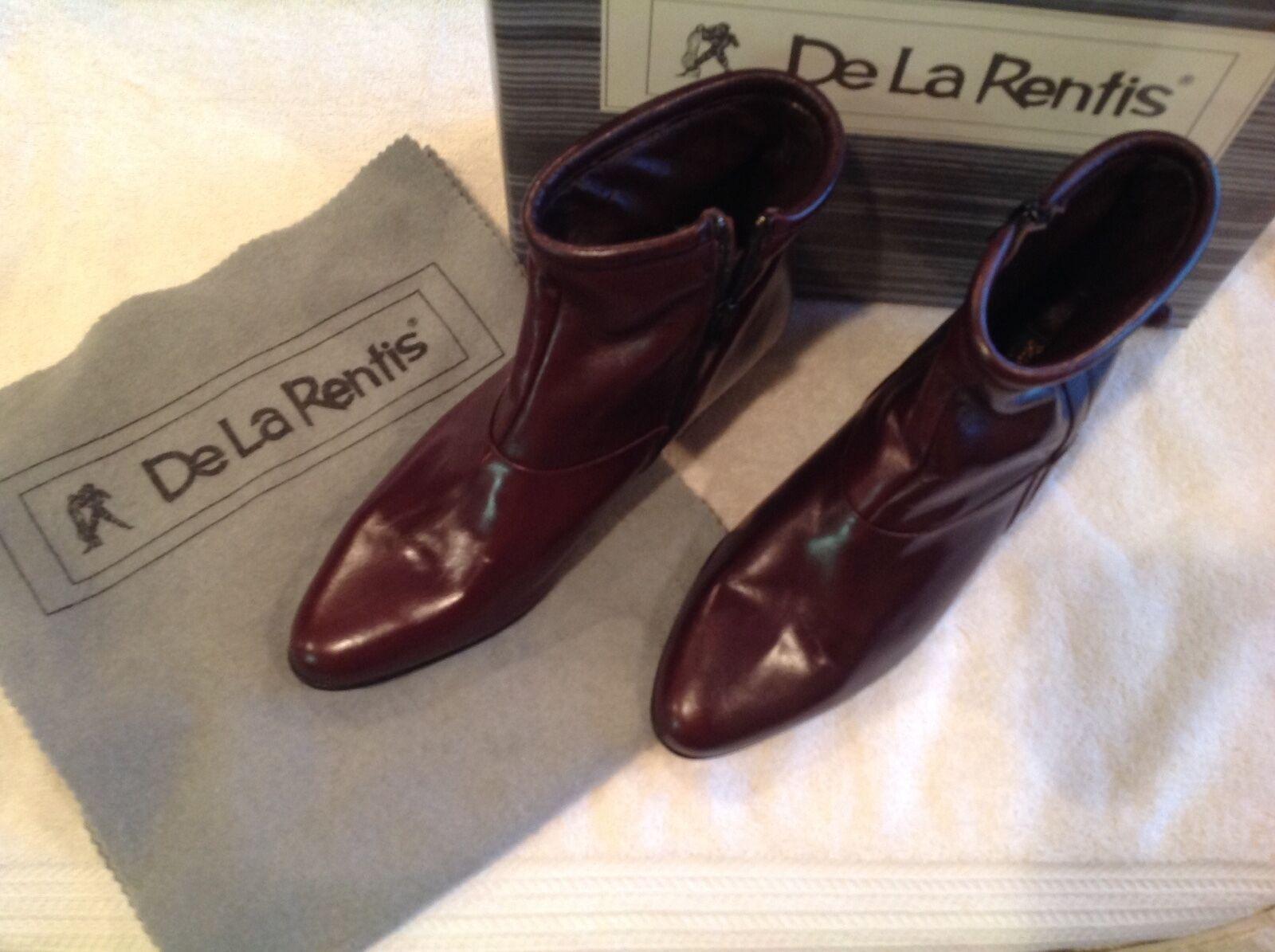 Auth NIB De La Rentis Ladies Burgundy Leather 9.5D Ankle Boots Side Zip NEW Box