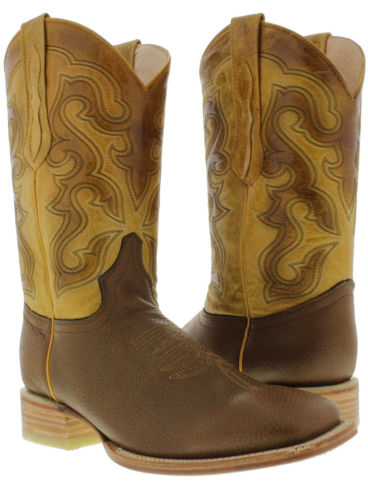Para hombres Cuero Marrón Miel botas De Vaquero Rodeo comodidad de trabajo Cuadrado Western Wear