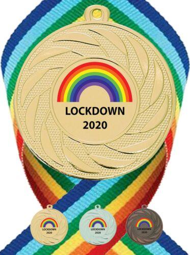 WOW 20 x Bulk Buy Lockdown Metal Medal Design with Rainbow Ribbon