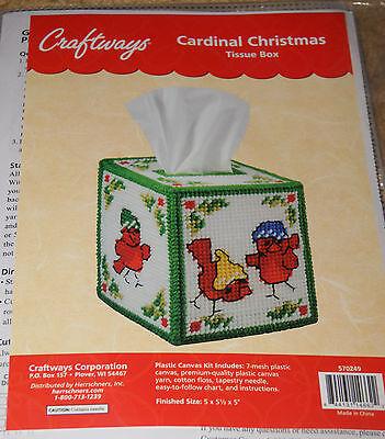 Craftways Plastic Canvas Kit: Cardinal Christmas Tissue Box