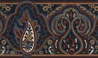 Blue Jacobean Peacock Vintage Leaf Burgundy Gold Tan Roll 15' Wallpaper Border