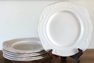 "Sabatier Le Grande Buffet Dinner Plate Set (6) White Cream 11.5"" French EUC"