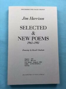 Details About Selected New Poems 1961 1981 Uncorrected Proof By Jim Harrison