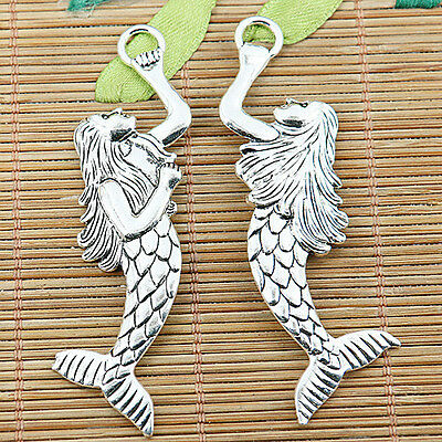 5pcs tibetan silver beautiful mermaid charm pendants EF1313