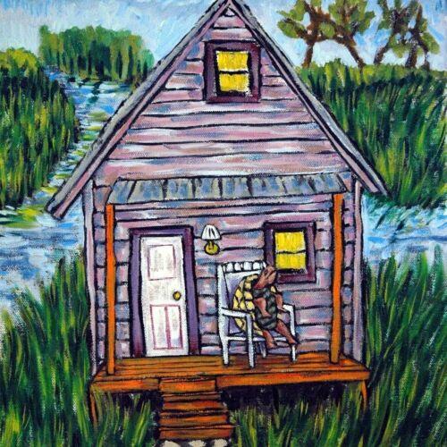swamp house art turtle print on ceramic TILE coaster gift modern folk JSCHMETZ