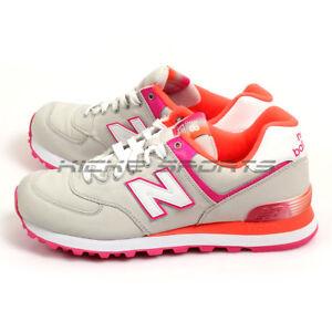 New Balance WL574APG B Light Grey & Pink & Orange Classic Lifestyle Shoes NB