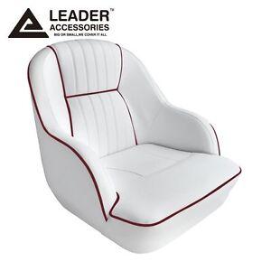 Leader Accessories Deluxe Bucket Boat Seat White Dark Red