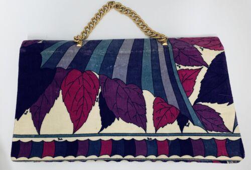 Emilio Pucci Signature Leaf Print Velvet Velour Ch