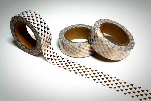 Washi Tape Sample 15mm x 1m weiß gold muster dreieck glänzend Nr.29h