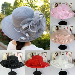 2019-Vintage-Women-Wide-Brim-Kentucky-Derby-Sun-Hat-Wedding-Tea-Party-Church-Cap