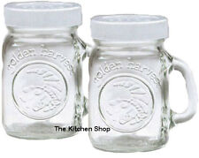 Golden Harvest Mason Jar Green Tops Salt Pepper Shakers Clear Gl Set 4oz