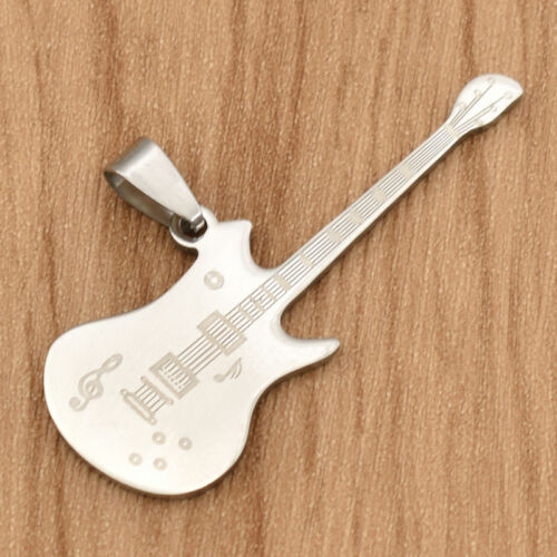 Unisex Stainless Steel Guitar Pendant Hiphop Charm DIY Necklace Silver Making