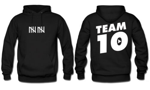 Team 10 Hoodie Front/&Back Adult size S-3XL Black//Red Brand New