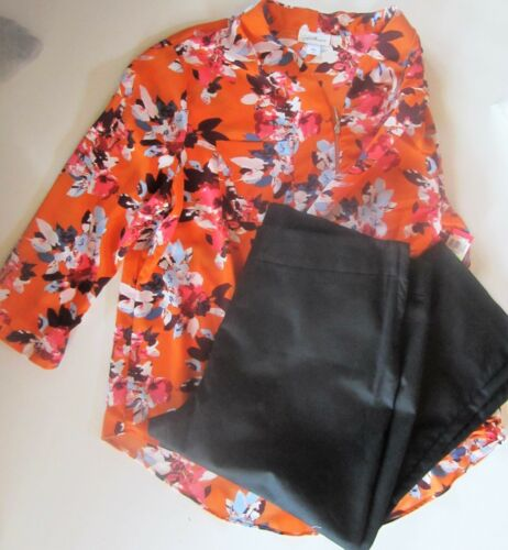 Size floreale Donna Capris pezzi Plus Pantaloni nero 2 1x stampa Top neri Nwt Pq0ExwBE
