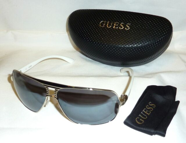 47033e0100b Authentic GUESS GU6512-10C-66 Men's Aviator Sunglasses Gray Lens WHITE  /SILVER