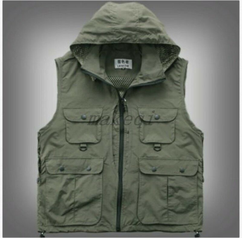 Mens Fashion  Multi Pockets Hooded Vest Outdoor Fly Hunting Fishing Jackets Vest