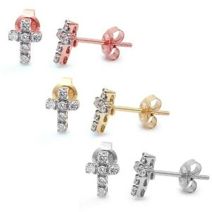 .15ct Round Diamond Cross Stud Earrings 14kt White, Rose or Yellow Gold
