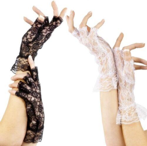 Ladies Black White Lace Fingerless Gothic Halloween Fancy Dress Costume Gloves