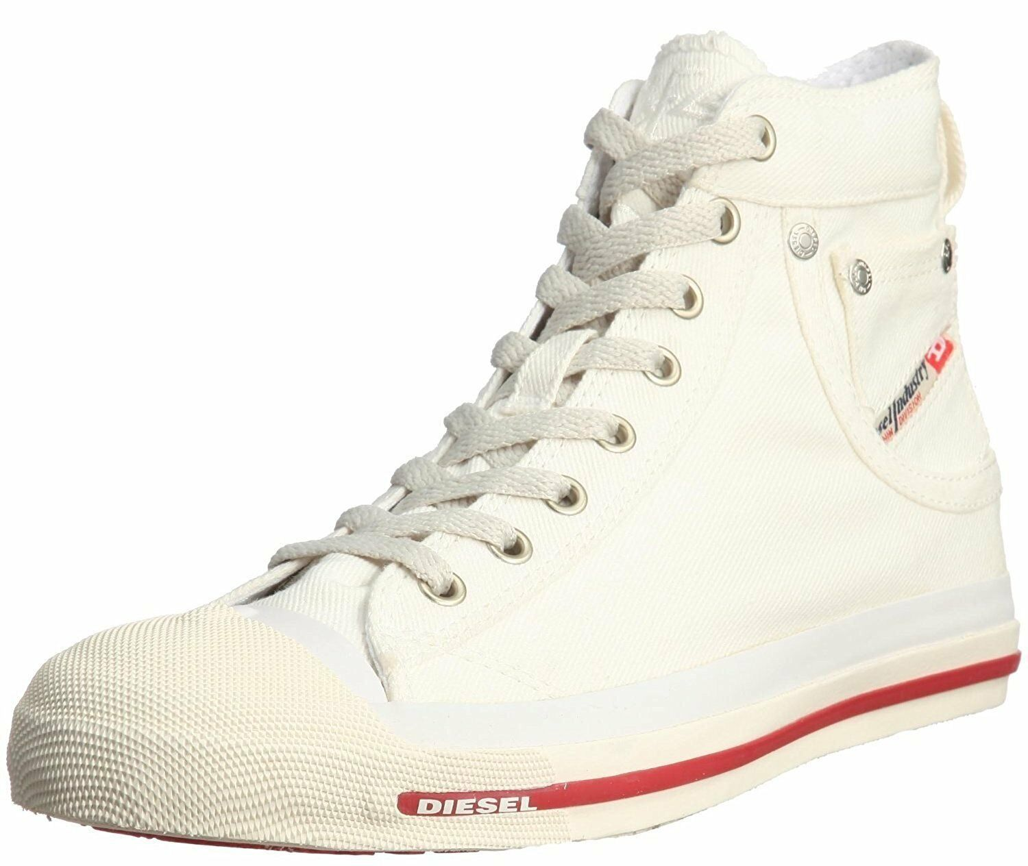 Diesel Mens Exposure Hi White Red Mens Diesel Canvas New Trainers Shoes Boots 0a283a