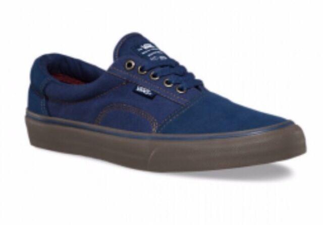744df3e576 Vans Mens 8 Womens 9.5 Rowley Solos Navy Blue Gum Canvas Suede Shoes  Sneakers