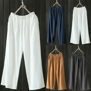 Women-Palazzo-High-Waist-Wide-Leg-Culottes-Cotton-Linen-Trousers-Loose-Pants