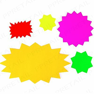 Small Colour Assorted NEON FLUORESCENT STAR Cards Price Display Tags Shop//Stall