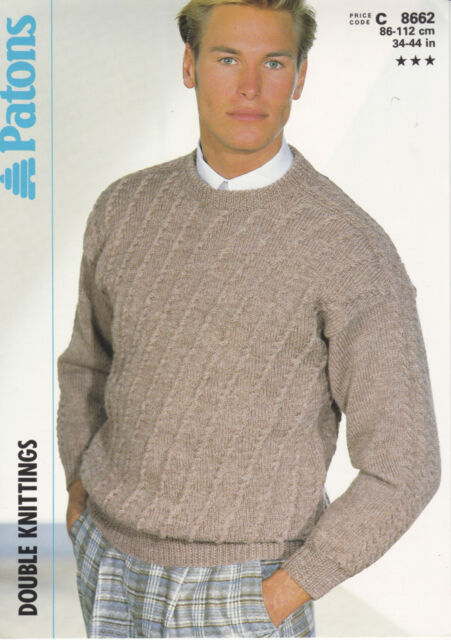 Patons Knitting Pattern Mans Saddle Shoulder Sweater Dk 34 44 Ebay