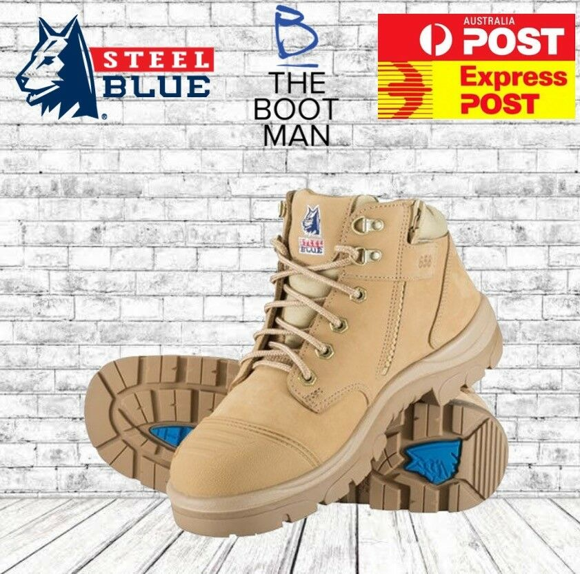 Steel bluee PARKES 312158 Sand Steel Toe Cap Safety Zip Side Work Boots