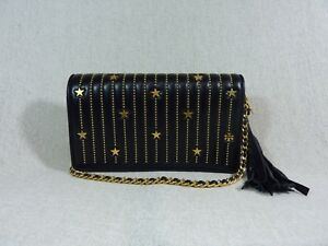 03a908769cd8 NWT Tory Burch Black Fleming Star-Stud Flat Wallet Cross Body Bag ...