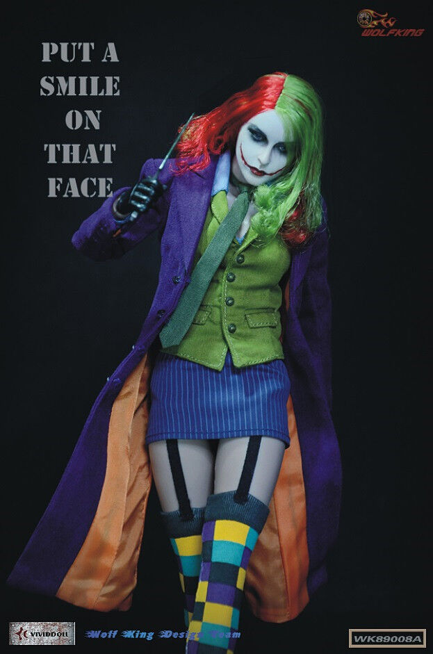 WOLFKING 1/6 female joker clown contains headplay and action figure