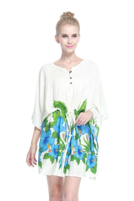 5f3c06faa897 Poncho Dress Top Luau Tropical Cruise Hawaiian Tie Beach Plus Size White  Blue BD for sale online | eBay