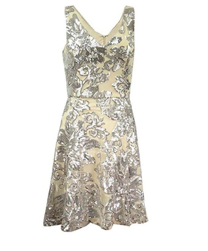 Betsy & Adam damen Clothing Sequin Mesh A-Line Dress Sz 8