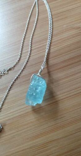 Large Chunky Genuine Aquamarine Necklace Sterling Silver Butterfly Natural  Blue Aquamarine Pendant Jewelry
