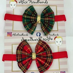 Tartan-Fabric-3-Inch-Bow-Baby-Headband-Glitter-Baby-Girls-Christmas-Lot