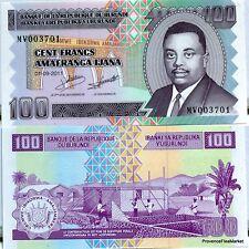 Burundi billet Neuf 100 FRANCS 2011 macons au travail Pick 44 Prince RWAGASORE