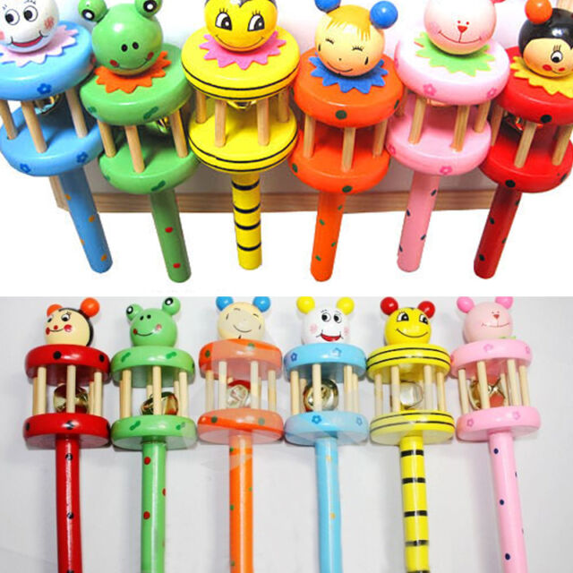 Baby Kid Infant Wooden Musical Instrument Toy Rattle Jingle Hand Bell Ring Gift