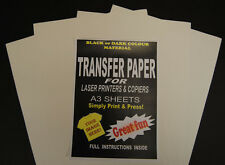 5x A3 Laser & Copier T Shirt Thermal Transfer Paper Sheets For Dark Fabrics