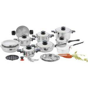 Chef-039-s-Secret-28pc-12-Element-T304-Stainless-Steel-034-Waterless-034-Cookware