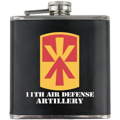 Army 11th ADA Air Defense Veteran Full Color Groomsman Gift Leather Wrap Flask