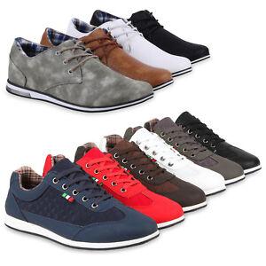 Herren-Sneakers-Low-Gesteppt-Freizeit-Turnschuhe-Schnurer-79594-Schuhe