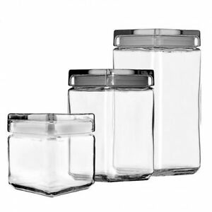 Image Is Loading Anchor Hocking Stackable Square Gl Jar With Lid