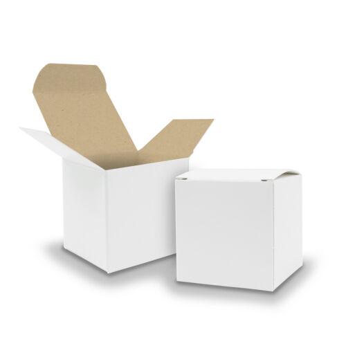 50x itenga Würfelbox KraftKarton 6,5x6,5cm weiß braun Gastgeschenk Adventskalene