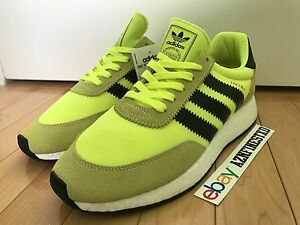 online store fca5a 799aa Image is loading NEW-Adidas-Iniki-Runner-Solar-Yellow-Neon-Black-