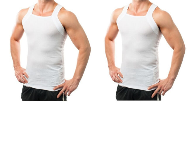 e4f29064a Men's G-unit Style Tank Tops Square Cut Muscle Gym Rib Wife Beater A-shirts  M 2 Pack White. About this product. Picture 1 of 2; Picture 2 of 2. Picture  2 of ...