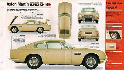 ASTON MARTIN DB6 DB-6 SPEC SHEET//Brochure 1965,1966,1967,1968,........