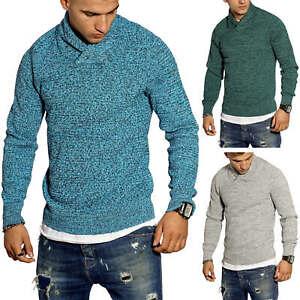 Selected-senores-jersey-de-punto-cuello-bufanda-clasico-jaspeadas-sueter-Sweater