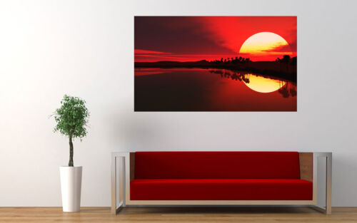 "LARGE RED SEA SUNSET CANVAS PICTURE WALL ART A1 34/"" X 20/"""