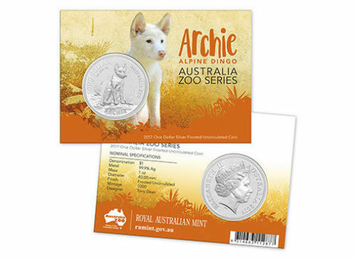 2017 $1 Fine Silver Frosted Unc Coin Australian Zoo Series Archie The Dingo RAM